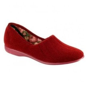 Womens Audrey Red Slip On Slippers