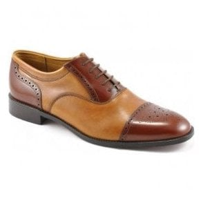 Mens Woodstock Tan Two-Tone Tie Shoe