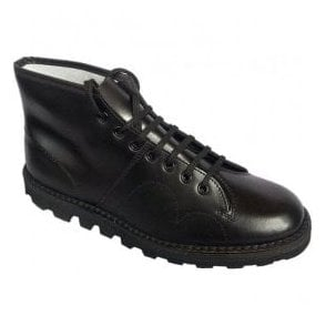 Unisex Black Leather Lace Up Monkey Boots