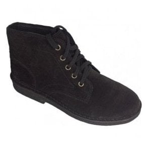 Mens Black Suede 5-Eyelet Desert Boots M468AS