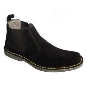 Mens Black Suede Elastic-Sided Desert Boots M765AS