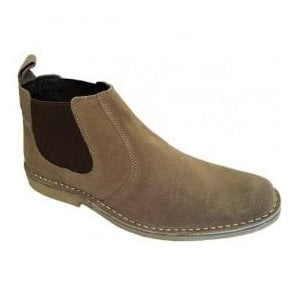 Mens Taupe Elastic-Sided Desert Boots M765BS