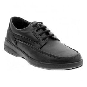 Mens Fire Black Leather Lace Up Shoes