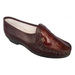 Womens Ida Burgundy/Patent Slip On Shoes