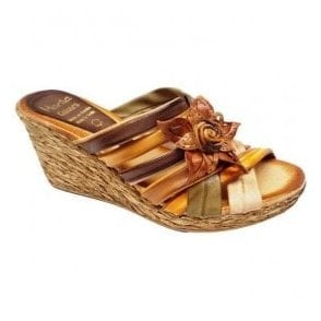 Womens Andrea Multi Leather Wedge Mule 203 A 25