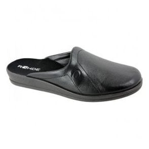 Mens Black Leather Mule Slippers 1558 90