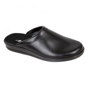Mens Black Leather Mule Slippers 1550 90