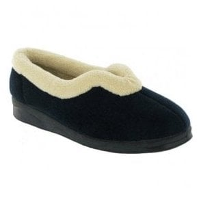 Womens Jenny Navy Fur Collar Slippers