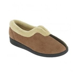 Womens Jenny Brown-Multi Fur Collared Slippers