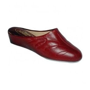 Womens Mahon Red Leather Slippers