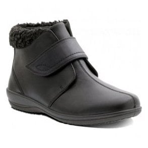 Womens Ida Black Velcro Ankle Boots
