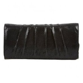 Womens Aloe Black Lizard Patent Clutch Bag