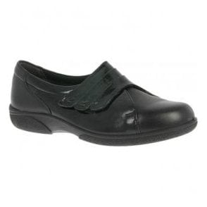Womens Bakewell Black/Black Patent Wide Fitting Shoes