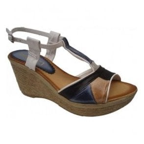 Womens Multi-Coloured/Grey Snake T-Bar Buckle-Up Sandals