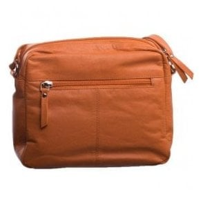 Womens Petal Orange Leather Shoulder Bag