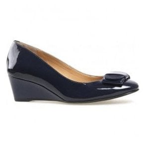 Womens Camden Navy Patent Wedge Court Shoes