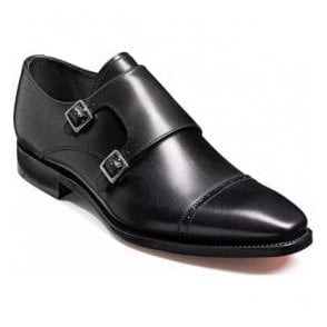 Mens Lancaster Black Leather Monk Strap Shoes