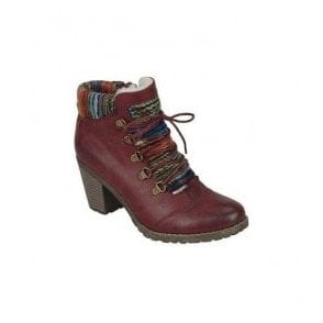 Womens Eagle D-Ring Wine Ankle Boots With Felt Cuff 95323-35