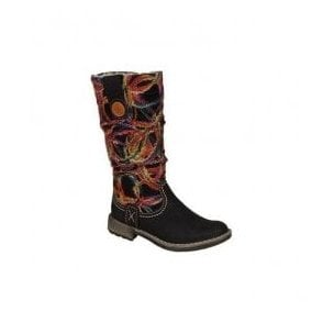Womens Wildebuk Black-Combi High Leg Boot 74663-00