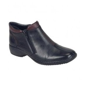 Cristalin Black/Burgundy Zip Ankle Boot L3882-00