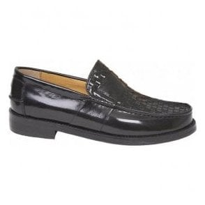 Mens Brummell Weave Black Slip-On Loafer