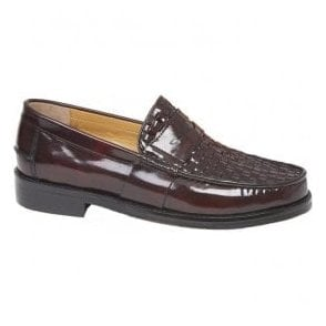 Mens Brummell Weave Oxblood Slip-On Loafer