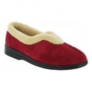 Womens Jenny Red Fur Collar Slippers