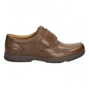 Mens Swift Turn Brown Leather Velcro Extra Wide H Fitting Shoes