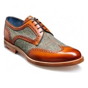 Mens Dowd Cedar Calf/Green Harris Tweed Lace-Up Shoes