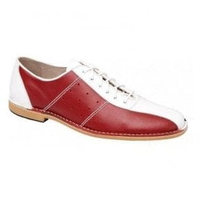 Mens Watts Red/White/Blue Leather Bowling Shoe