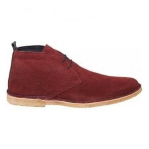 Mens Crowley Burgundy/Navy Suede Desert Boots