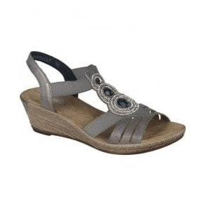 Womens Space Grey Elastic Sandals 62459-40