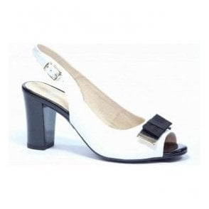 Womens White Patent Sling Back Shoes 9-28314-26 103