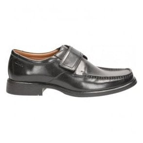 Mens Huckley Roll Black Leather Velcro Shoes