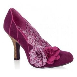 Womens April Plum Court Shoes With Flower Detail
