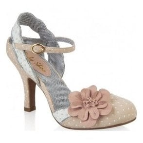 Womens Heidi Beige Court Shoes With Flower Detail