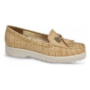 Womens Coco White Camel Croc Slip On Moccasins