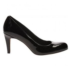 Womens Carlita Cove Black Patent Court Shoes