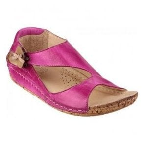 Womens Cartier Fuchsia Leather Elasticated Button Sandals