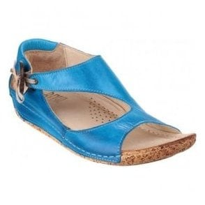 Womens Cartier Electric Blue Leather Elasticated Button Sandals