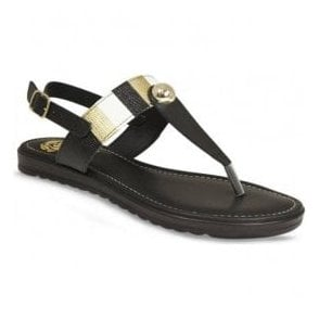 Womens Maddie Black Toe Post Sandals