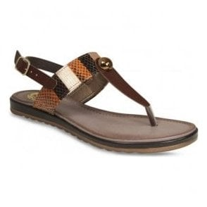 Womens Maddie Brown Toe Post Sandals
