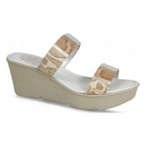 Womens Vita Natural Snake Wedge Sandals