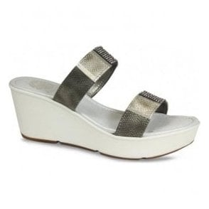 Womens Vita Pewter Snake Wedge Sandals