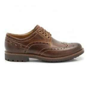 Mens Montacute Wing Dark Tan Leather Lace-Up Shoes