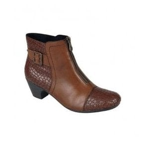 Womens Kiama Brown/Snake Zip Ankle Boots 70581-25