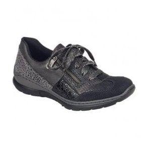 Wildebuk Black Lace Up Trainers L3223-00