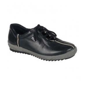 Cristallin Black Lace Up Waterproof Shoes M6110-00