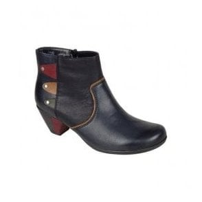 Womens Eagle Navy/Multi Ankle Boots With Side Zip Y7273-14
