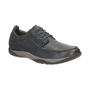 Mens Route Walk Navy Leather Lace-Up Shoes